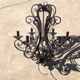 Wrought Iron Chandelier 6 Lights Black