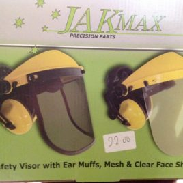 Safety Visor with ear muffs with mesh and clear visor