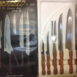 Vintage sheffield de lux 6 pce stainless steel carving set